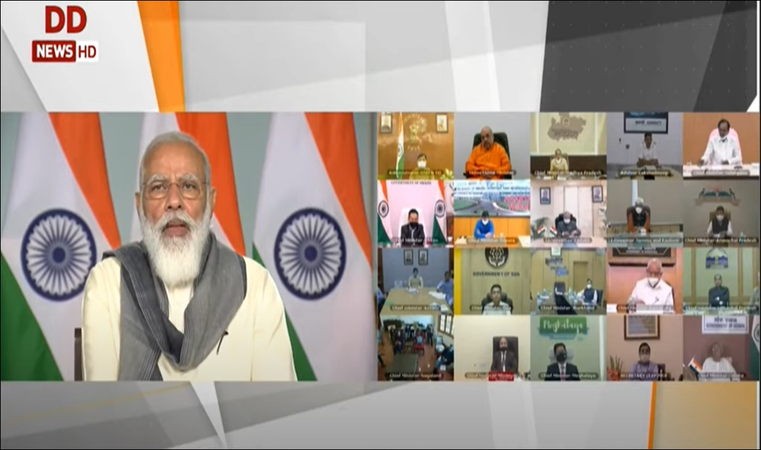 PM Modi chairs high level meeting with CMs to review status, preparedness of COVID-19 response & management