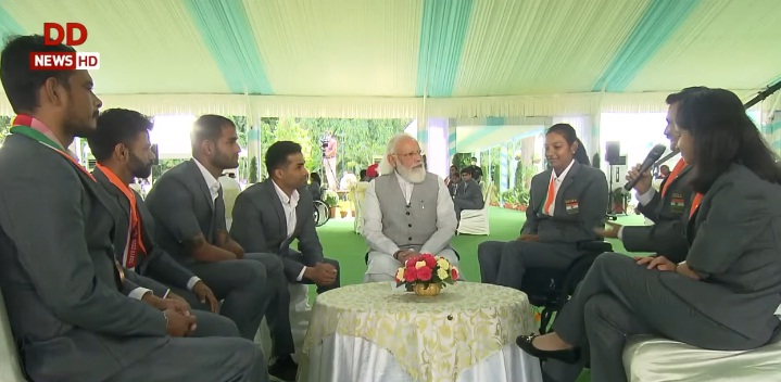 PM Modi asks Indian Paralympic contingent to motivate people in areas outside sports to bring change in the country