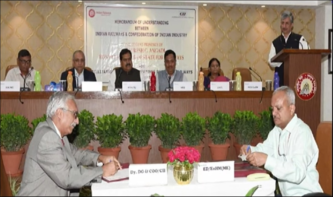 Ministry of Railways, CII sign MOU to facilitate green initiatives