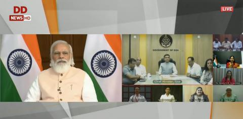 PM Modi interacts with healthcare workers and beneficiaries of the COVID vaccination programme in Goa