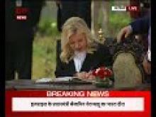 PM Modi & Israel PM Netanyahu sign visitors' book at Teen Murti Chowk in New Delhi