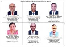 30 distinguished and meritorious service medals to Officers and Officials of CBI on the occasion of Independence Day, 2021