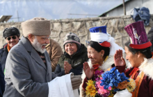 Prime Minister Narendra Modi meets local peoples in Leh
