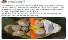 "Union Minister Prakash Javadekar lauds Tripura Govt's launch of ""eco-friendly"" bamboo candles"