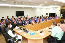 Union Minister of Youth Affairs & Sports Anurag Thakur meets World Youth Archery Championship winners; congratulates them for big medal haul