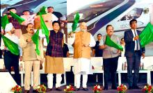HM Amit Shah flags off Semi-high speed train Vande Bharat Express from New Delhi to Katra