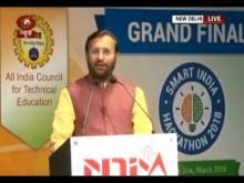 Union HRD Minister Prakash Javadekar speaks at the Grand Finale of Smart India Hackathon 2018