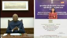 President Ram Nath Kovind on Saturday virtually conferred the National Sports and Adventure Award 2020 on the occasion of National Sports Day.