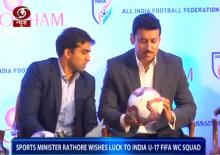 Sports minister Rathore wishes luck to India U-17 FIFA WC squad