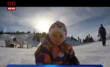 Toddler learns to snowboard ahead of her first birthday